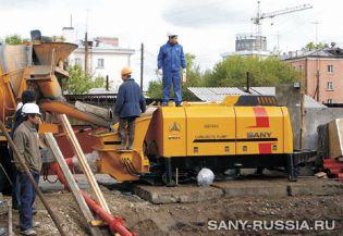 Стационарный бетононасос HBT50C-1413 на строительстве бизнесцентра