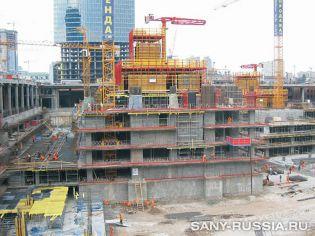 на строительстве башни Федерация в Москве Сити