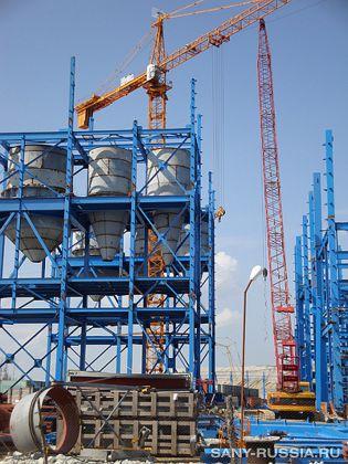 Гусеничный кран SANY на Рязанском бетонном заводе