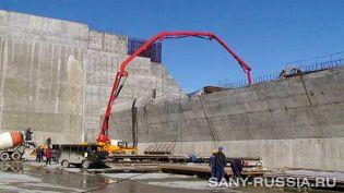 Автобетононасос SANY работает на восстановлении СШГЭС