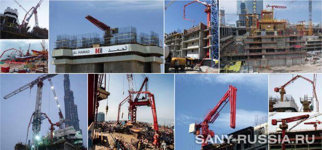 Бетонораспределительная стрела SANY работает на объектах строительства
