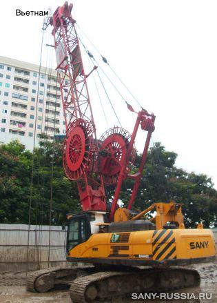 Грейферный экскаватор SANY SH400C работает во Вьетнаме