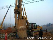 Буровая установка SANY на строительстве автострады