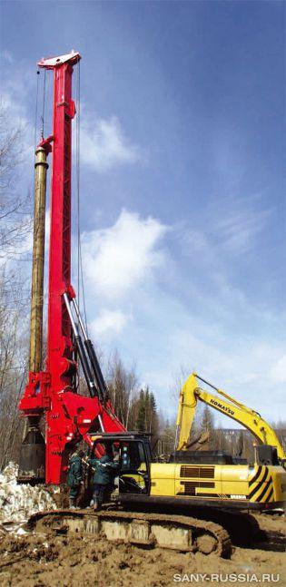 Буровая установка SANY SR250R на строительстве газопровода в России