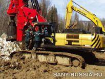 Буровая установка для скальных пород SANY SR250R на строительстве газопровода в России