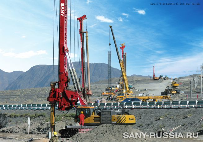 Буровая установка SANY SR280R на строительстве железнодорожной магистрали