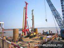 SANY SR360 на строительстве моста через реку Янцзы в Китае