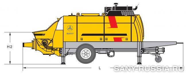 Размеры стационарного бетононасоса SANY HBT12020C-5W
