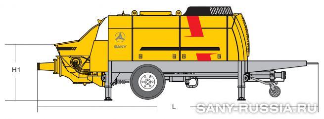 Размеры стационарного бетононасоса SANY HBT6016C-5