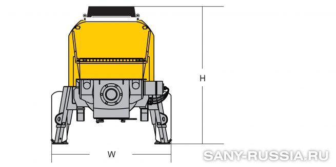 Размеры стационарного бетононасоса SANY HBT6013C-5
