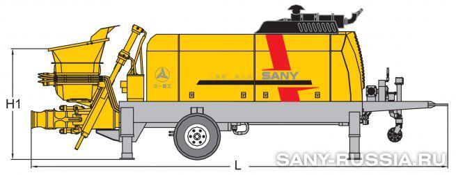 Размеры стационарного бетононасоса SANY HBT120A-1613D