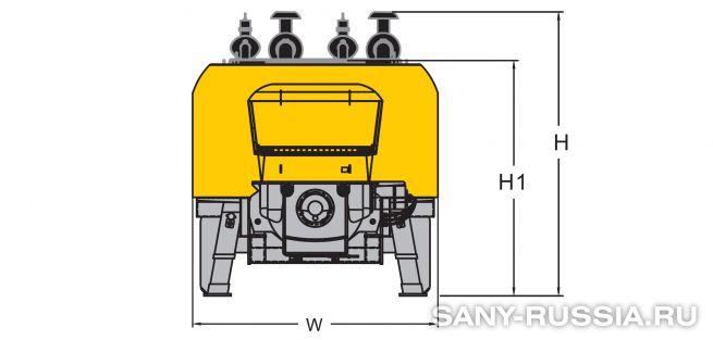 Размеры стационарного бетононасоса SANY HBT90CH-2128D