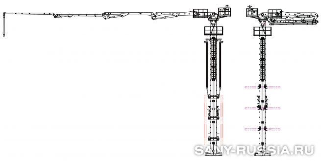 Бетонораспределительная стрела SANY HG33, монтируемая в шахте лифта (слева) и в колодце (справа)