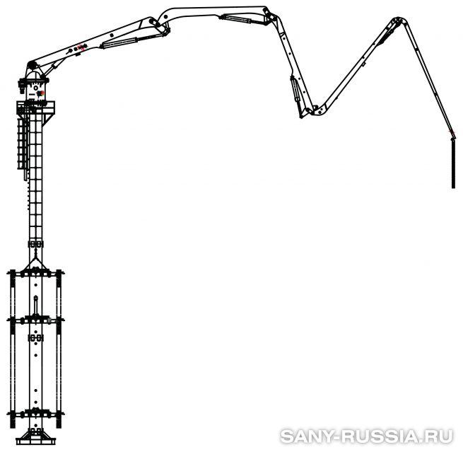 Бетонораспределительная стрела SANY HG39, монтируемая в шахте лифта