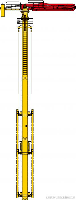 Общий чертёж бетонораздаточной стрелы SANY HGD38B
