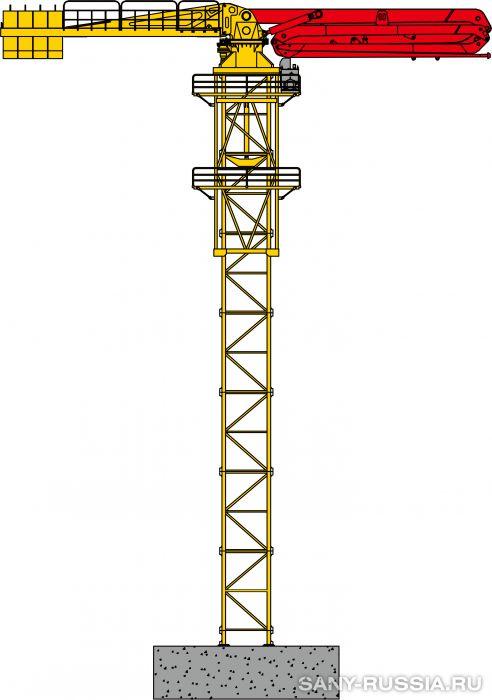 Общий чертёж бетонораспределительной стрелы SANY HGT38