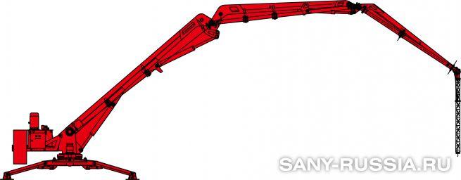 Общий чертёж мобильной интегральной бетонораспределительной стрелы SANY HGY20 II