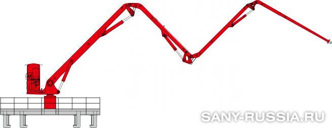 Общий чертёж мобильной интегральной бетонораспределительной стрелы SANY HGY24
