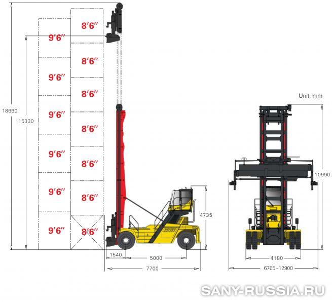 грузоподъёмность и размеры погрузчика порожних контейнеров SANY SDCY100K7-TH