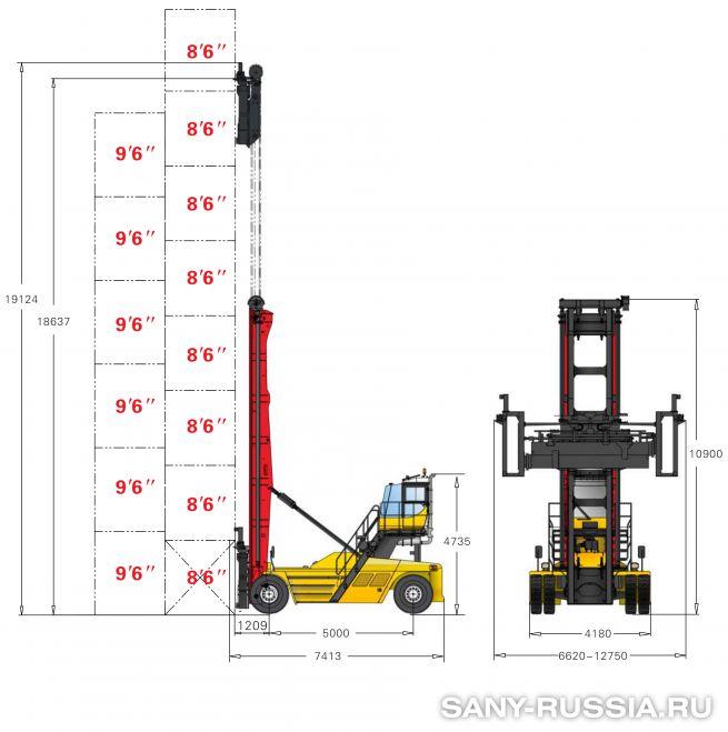 грузоподъёмность и размеры погрузчика порожних контейнеров SANY SDCY100K8-T