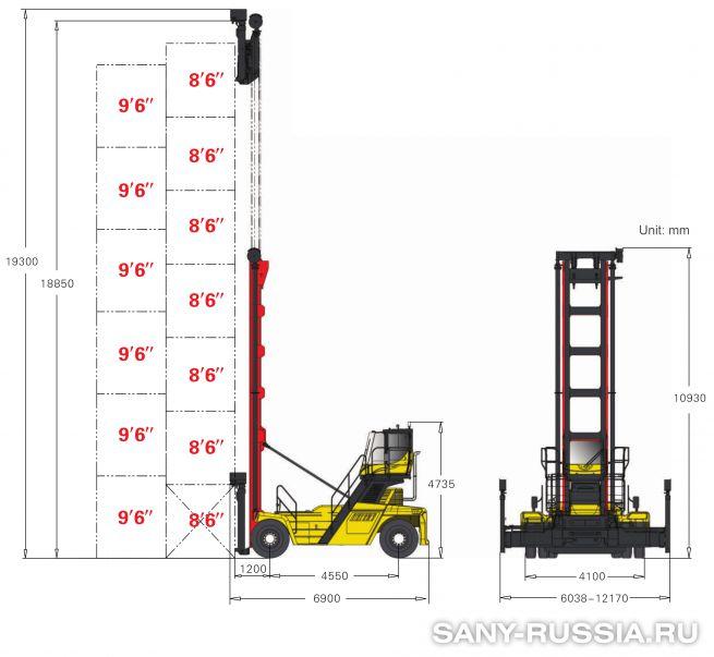 грузоподъёмность и размеры погрузчика порожних контейнеров SANY SDCY90K7C