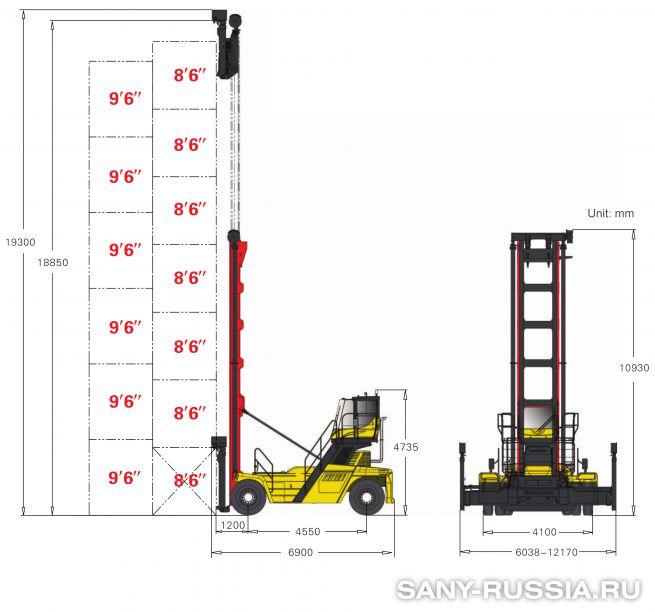 грузоподъёмность и размеры погрузчика порожних контейнеров SANY SDCY90K7C1