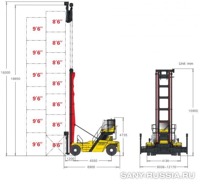 грузоподъёмность и размеры погрузчика порожних контейнеров SANY SDCY90K7F
