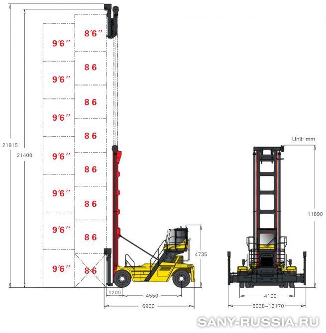 грузоподъёмность и размеры погрузчика порожних контейнеров SANY SDCY90K8C