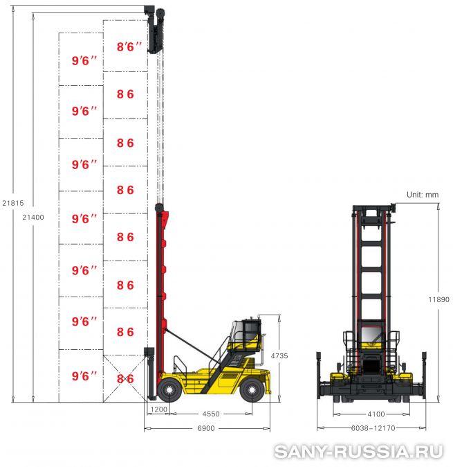 грузоподъёмность и размеры погрузчика порожних контейнеров SANY SDCY90K8C1