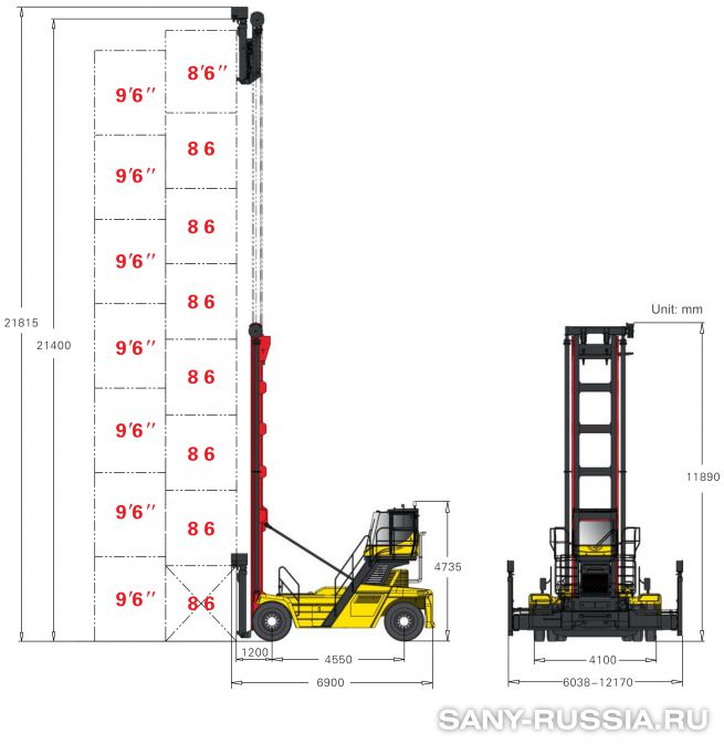грузоподъёмность и размеры погрузчика порожних контейнеров SANY SDCY90K8C2