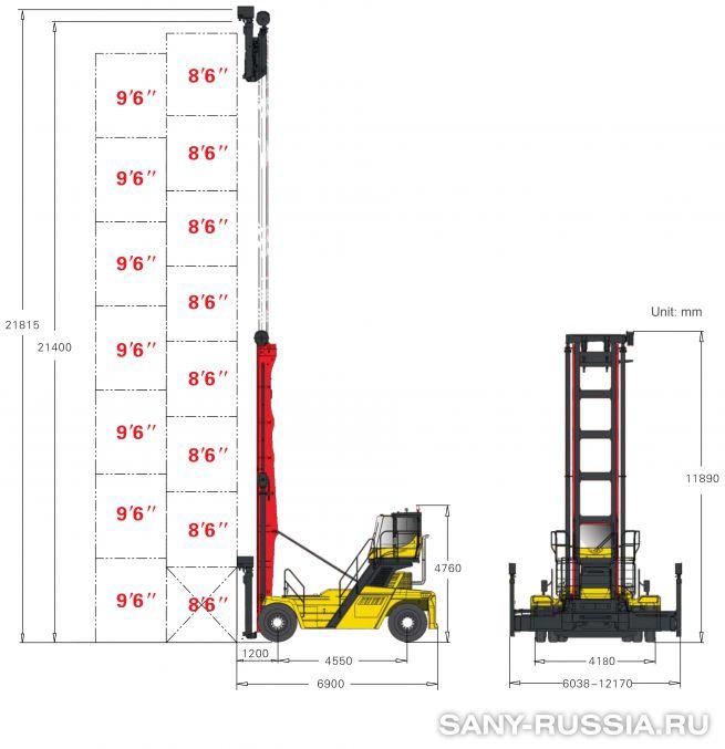 грузоподъёмность и размеры погрузчика порожних контейнеров SANY SDCY90K8F