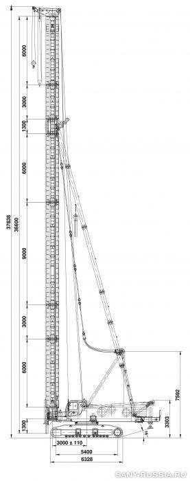 Сваебойная установка SANY SF808 I в рабочем положении