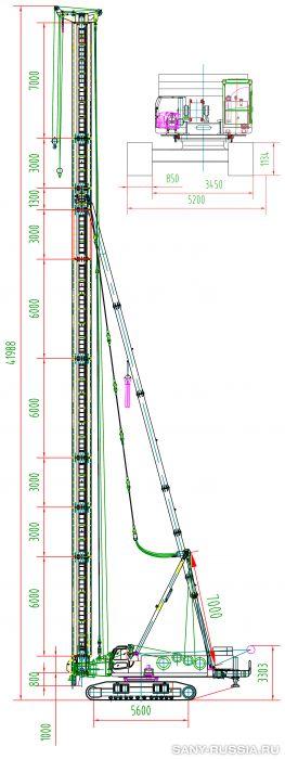 Сваебойная установка SANY SF818 в рабочем положении