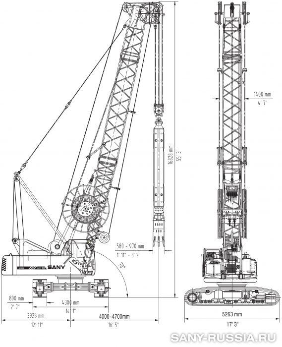 Грейферная установка SANY SH350 в рабочем положении