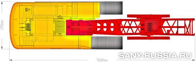 Грейферная установка SANY SH350D в транспортном положении