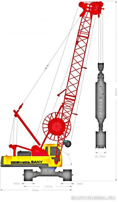 Грейферная установка SANY SH350D в рабочем положении