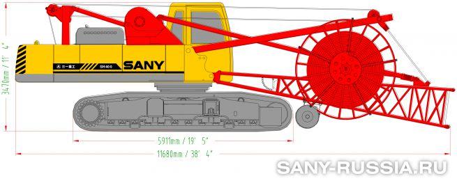 Грейферная установка SANY SH400 в транспортном положении