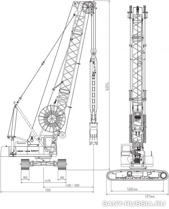 Грейферная установка SANY SH400 в рабочем положении