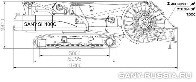 Базовая машина грейферной установки SANY SH400C в транспортном положении