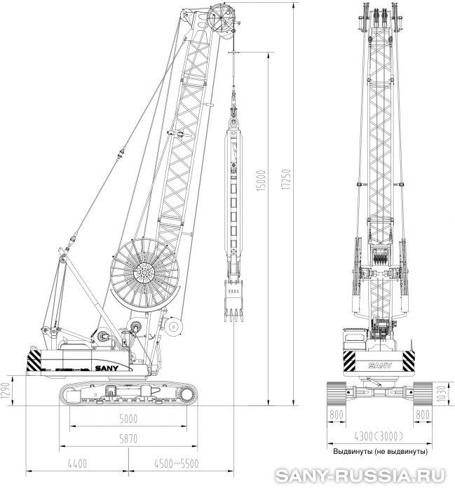 Грейферная установка SANY SH400C в рабочем положении