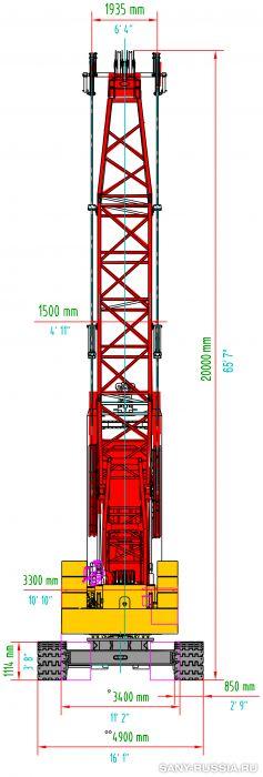 Грейферная установка SANY SH500 в рабочем положении