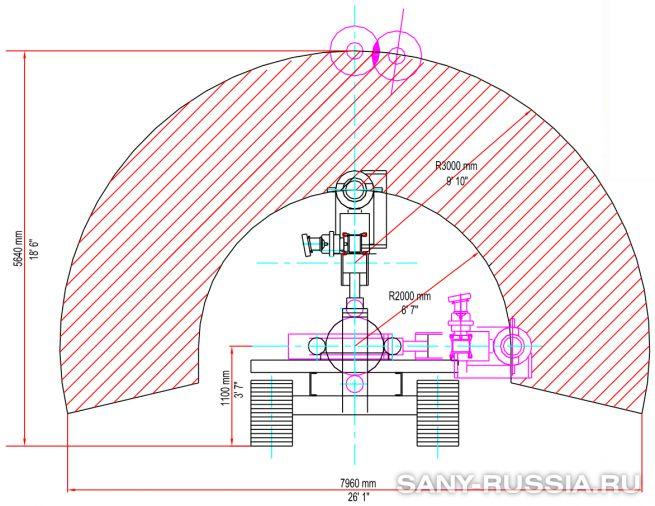 Размеры в рабочем положении буровой установки для струйной цементации грунтов SANY SJ510 jet grouting