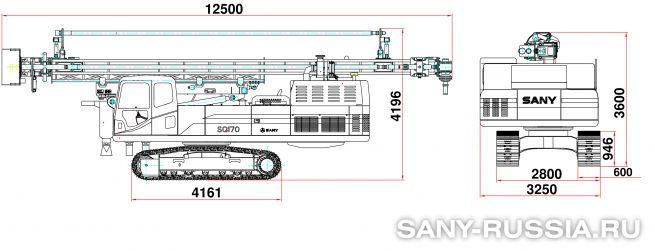 Буровая установка для бурения взрывных скважин SANY SQ170 в транспортном положении