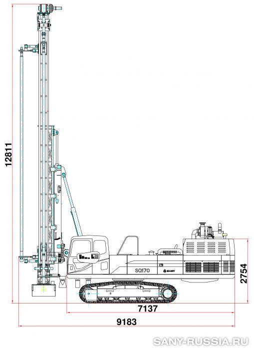 Буровая установка для бурения взрывных скважин SANY SQ170 в рабочем положении