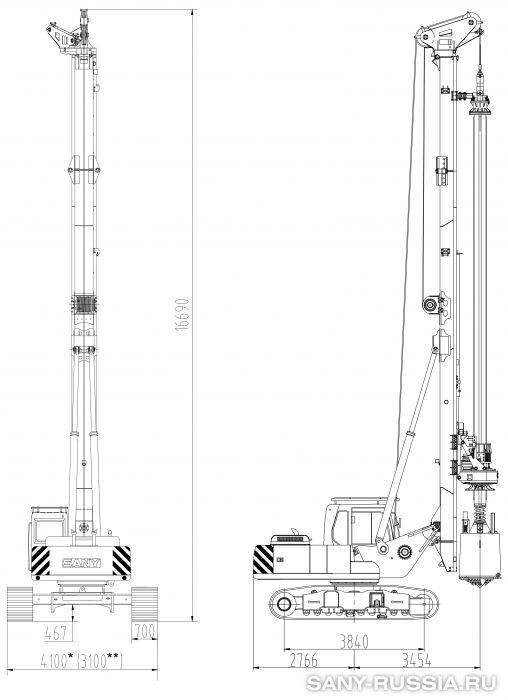 Буровая установка SANY SR100 в рабочем положении