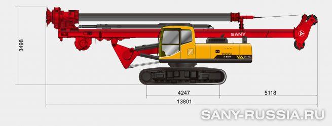 Буровая установка SANY SR100C в транспортном положении