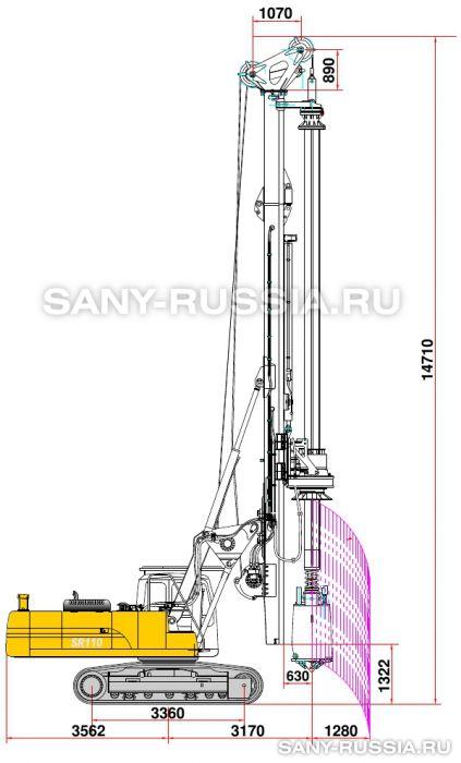 Буровая установка SANY SR110 в рабочем положении