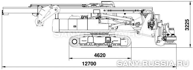 Буровая установка SANY SR150C в транспортном положении (с приводом ротора)