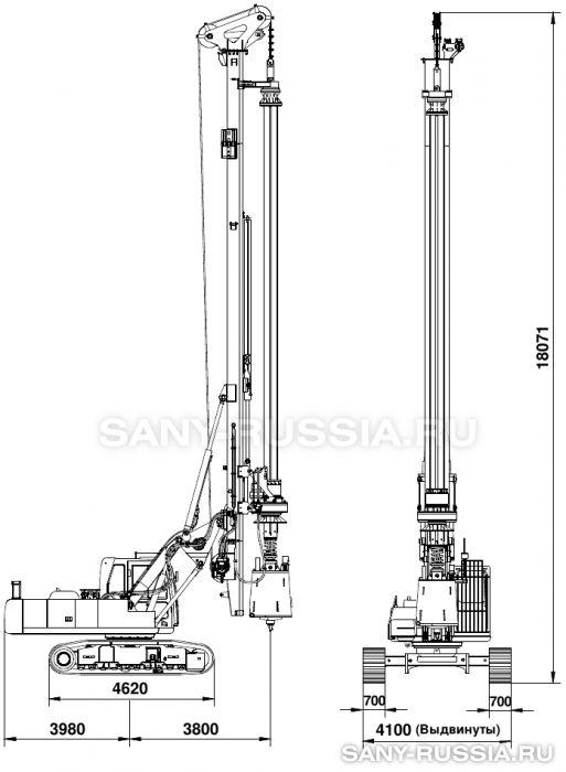 Буровая установка SANY SR150C в рабочем положении