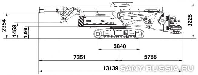Буровая установка SANY SR150M в транспортном положении